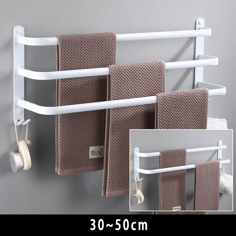 Towel Hanger Wall Mounted Towel Rack Bathroom Space Aluminum Fashion White Towel Bar Rail Matte White Towel Holder